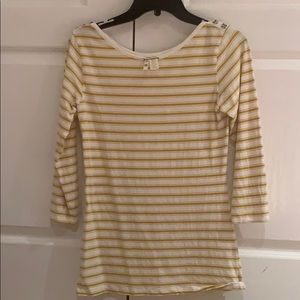Matilda Jane 3/4 Mustard/cream shirt, Size Small
